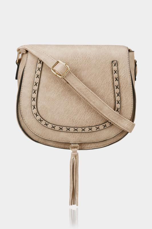 Plus Size Bags & Purses Natural Beige Stitched Cross Body Saddle Bag