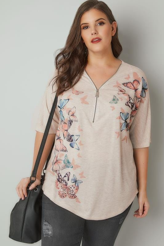 Natural Butterfly Print Top With Zip Neckline