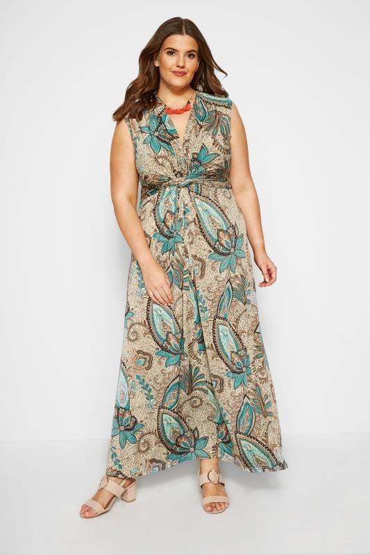 Plus Size Maxi Dresses Natural Paisley Knot Front Maxi Dress