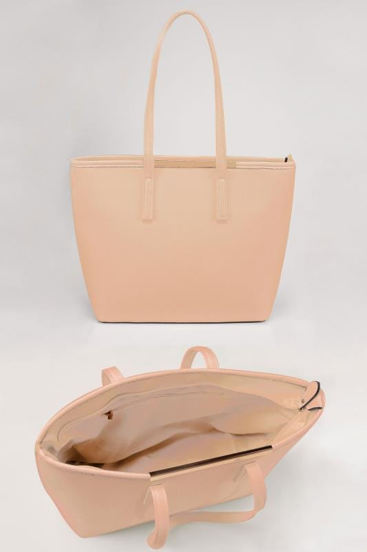 Natural Shopper Bag With Metal Bar Detail