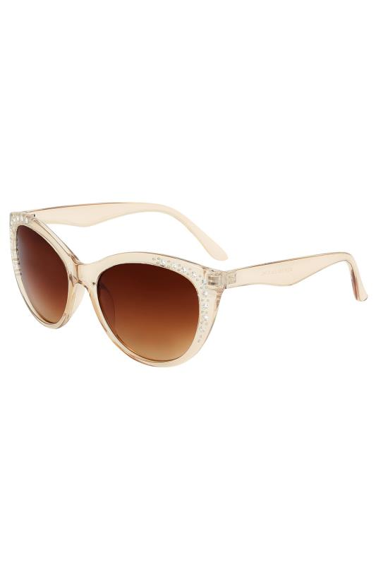 Plus Size Sunglasses Natural Tinted Sunglasses With Frame Embellishment With UV 400 Protection