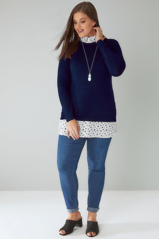 Navy 2 In 1 Jumper Layered With Heart Print Shirt Detail