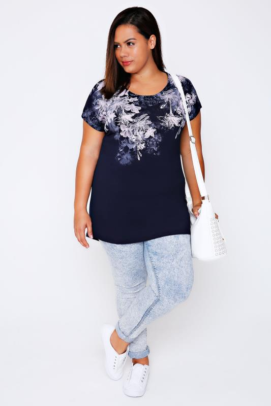 Navy And Pink Floral Top With Short Sleeves