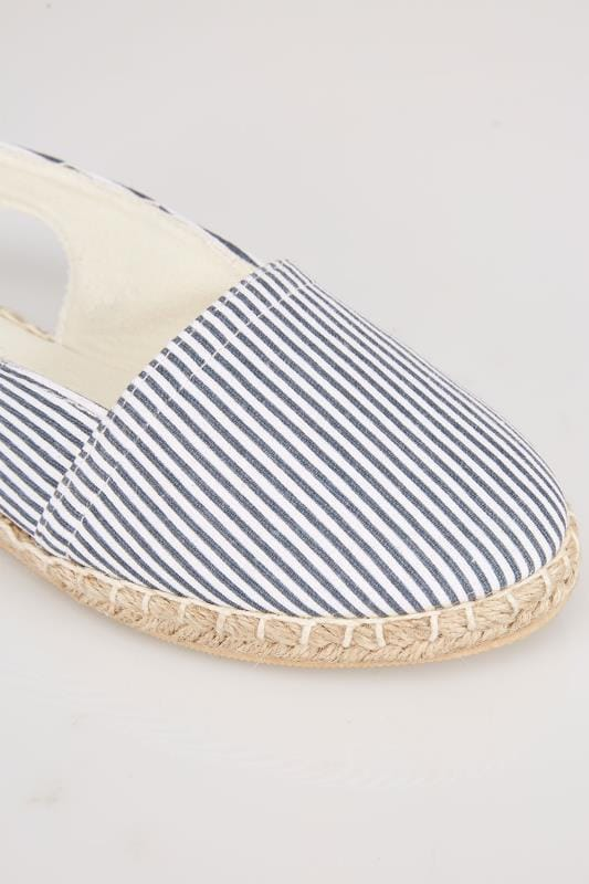 Navy And White Slingback Espadrilles In EEE Fit
