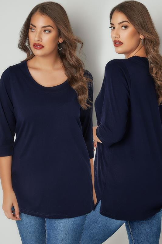 Plus Size Day Tops Navy Band Scoop Neckline T-Shirt With 3/4 Sleeves