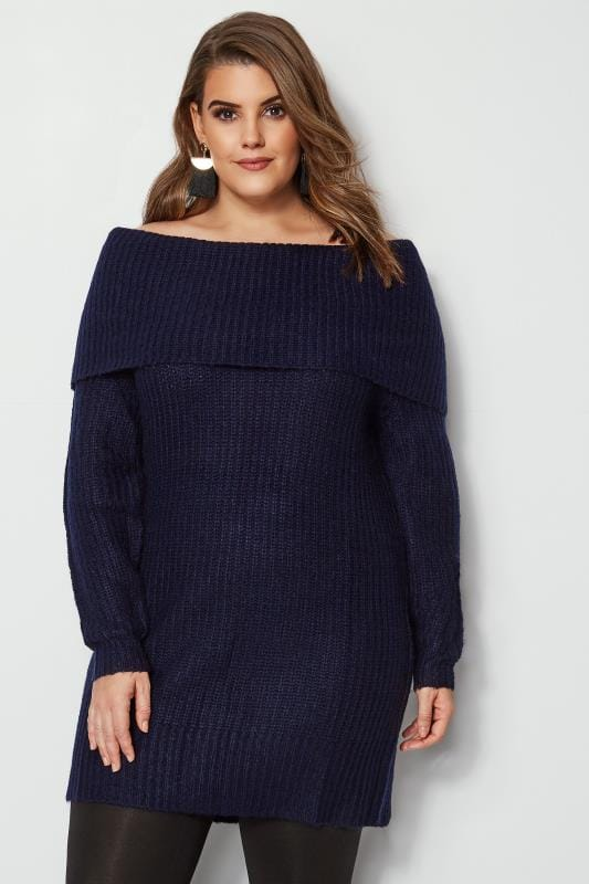 Navy Bardot Knitted Jumper