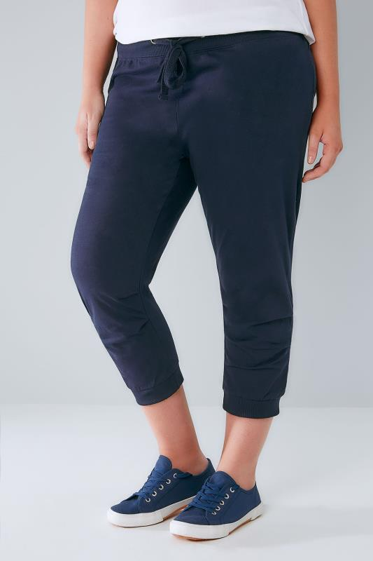 Plus Size Joggers Navy Basic Cotton Jersey Cropped Joggers With Fold Detail