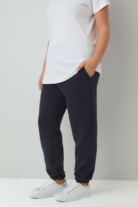 Plus Size Joggers Navy Basic Cuffed Joggers