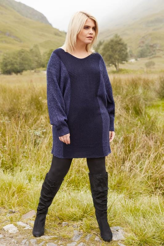 Navy Batwing Colour Block Jumper