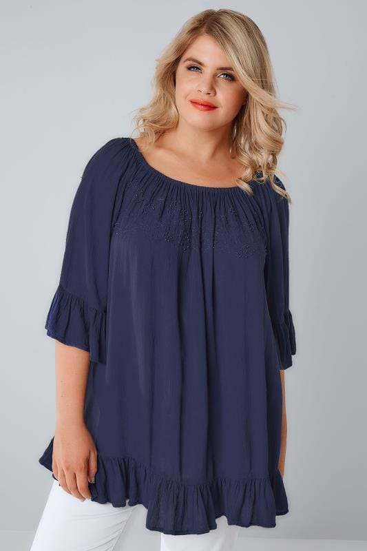 Plus Size Longline Tops Navy Bardot Gypsy Top With Beaded Details & Flute Sleeves