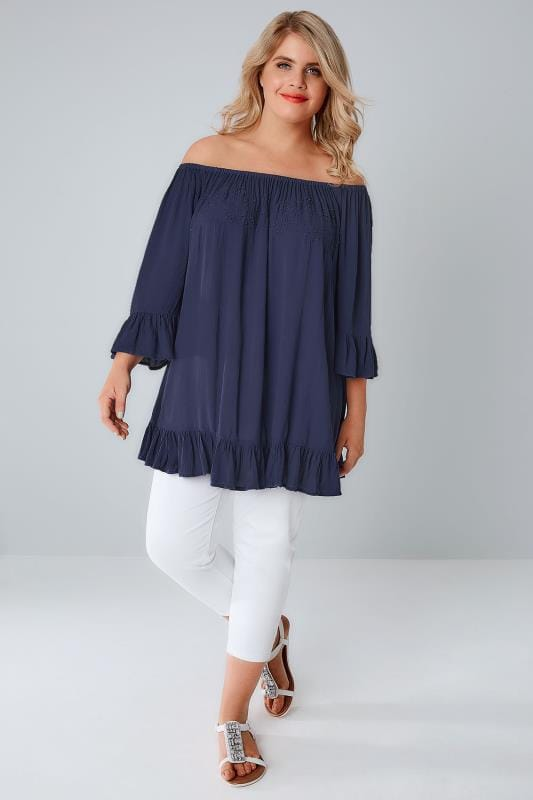 Navy Bardot Gypsy Top With Beaded Details  Flute Sleeves -7409
