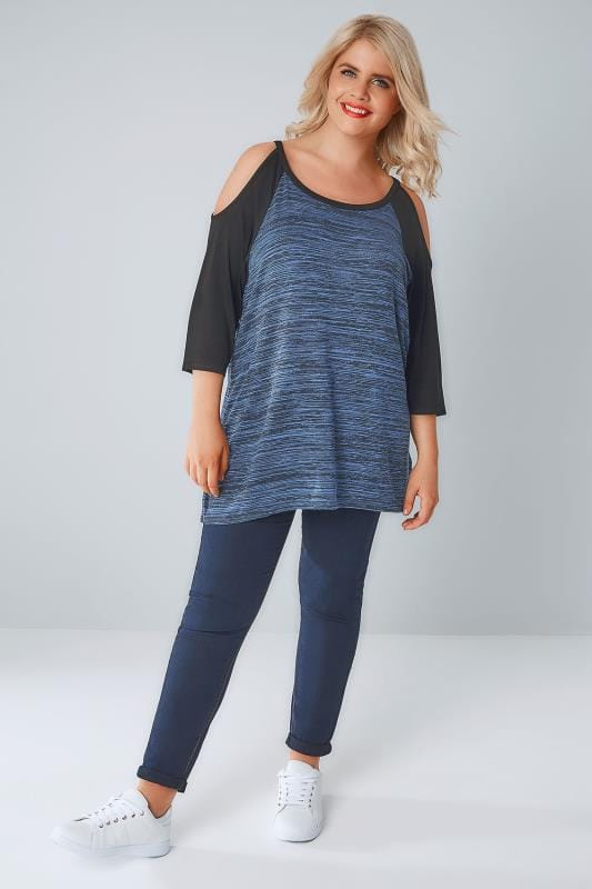 Navy & Black Raglan Cold Shoulder Jersey Top