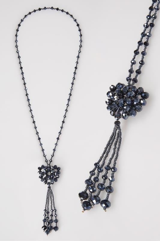 Navy Blue Beaded Long Necklace With Graphite Heart & Tassel Pendant