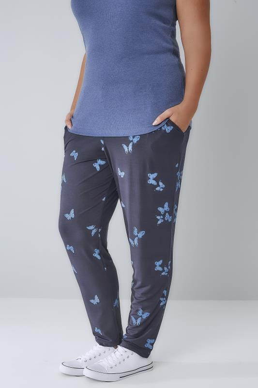 Plus Size Harem Trousers Navy & Blue Butterfly Print Jersey Harem Trousers With Pockets