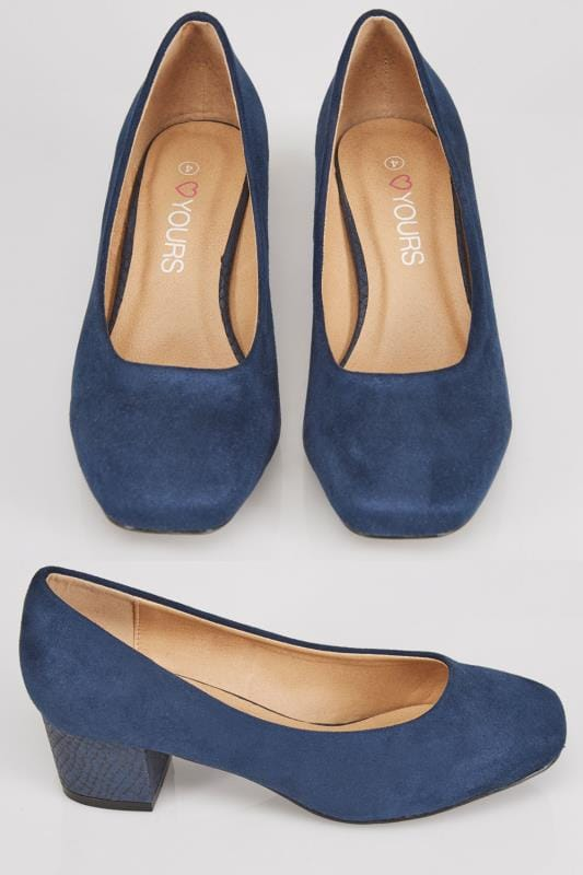Navy Blue COMFORT INSOLE Suedette Heeled Court Shoe In EEE Fit