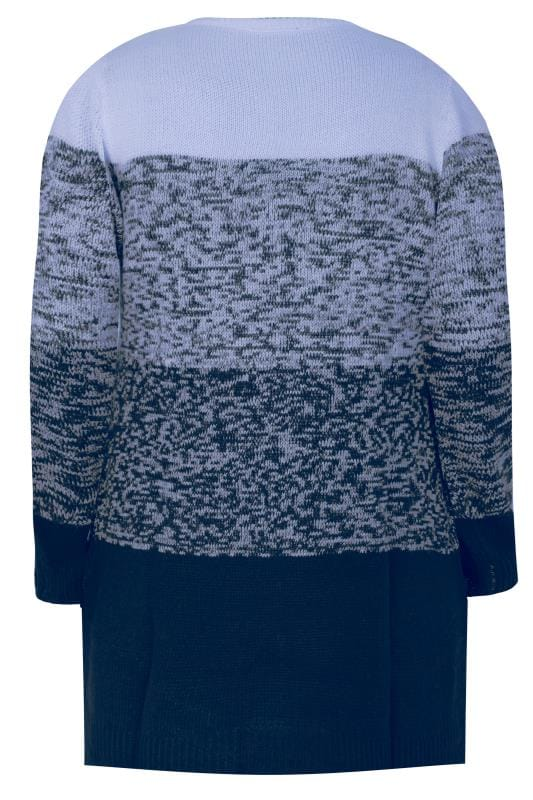 Navy & Blue Colour Block Longline Jumper