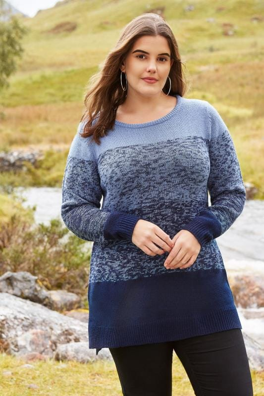 Plus Size Jumpers Navy & Blue Colour Block Longline Jumper