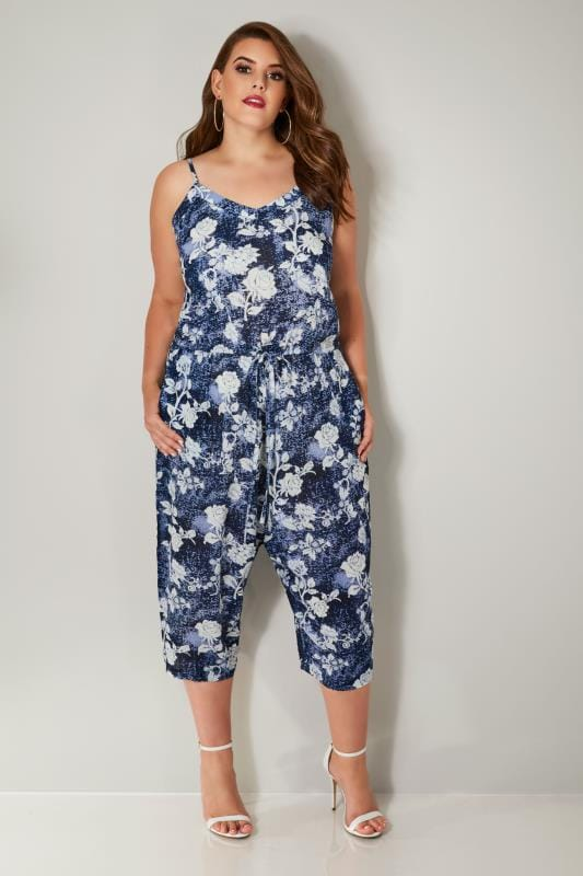 navy blue floral print jumpsuit plus size 16 to 36. Black Bedroom Furniture Sets. Home Design Ideas