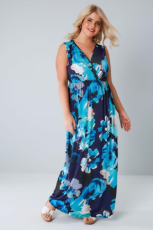 Maxi Dresses Navy & Blue Floral Slinky Stretch Wrap Over Maxi Dress 136136