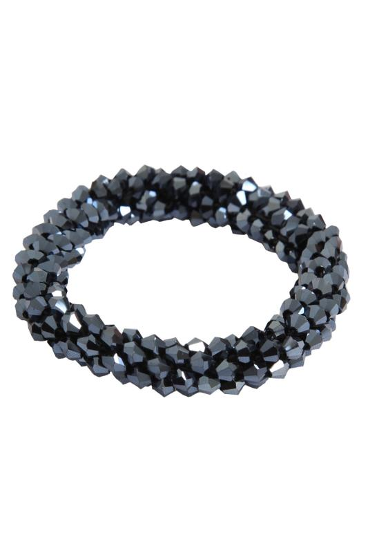 Navy Blue Graphite Stone Stretch Bracelet