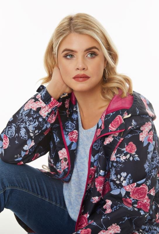 Waterproof & Shower Resistant Jackets Navy, Blue & Pink Floral Print Shower Resistant Hooded Jacket With Netted Lining 120096