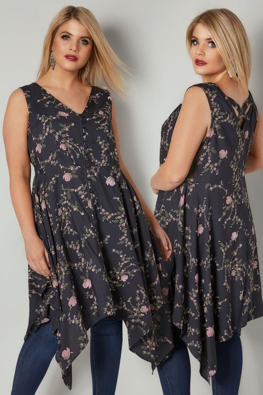 Navy & Blush Pink Floral Print Sleeveless Top With Cross Over Back & Hanky Hem