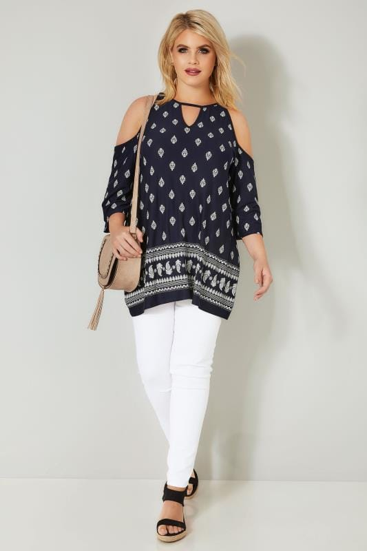 Navy Border Print Cold Shoulder Jersey Top