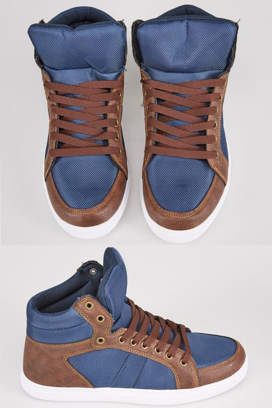 Boots Navy & Brown Lace Up Hi Top Shoe 101878
