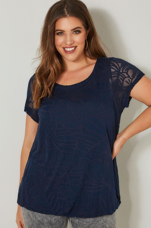 Plus Size Smart Jersey Tops Navy Burnout Detail Double Layer Top With Bubble Hem