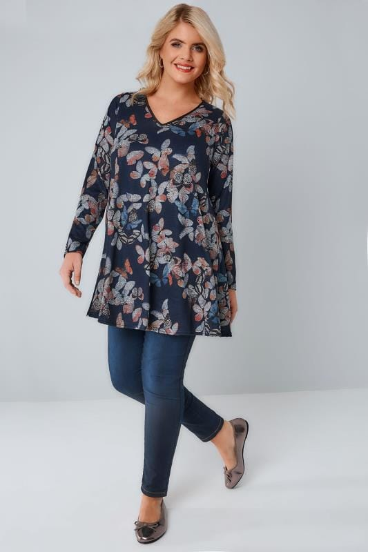 Navy Butterfly Print Longline Swing Top With PU Trim V-Neck