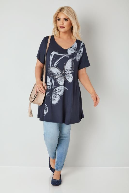 Navy Butterfly Print Longline Top With Bead Embellishment