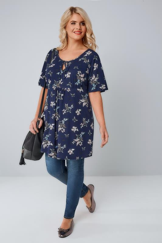 Navy Butterfly Print Longline Top With Self-Tie Fastening At Neck