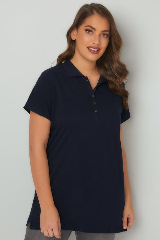 Navy Button Up Polo Shirt