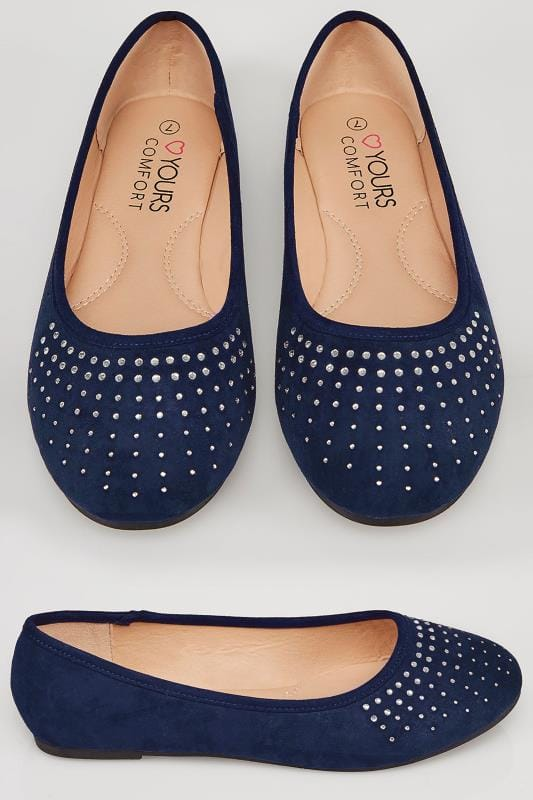 Wide Fit Flat Shoes Navy COMFORT INSOLE Ballerina Pumps With Diamante Detail In TRUE EEE Fit