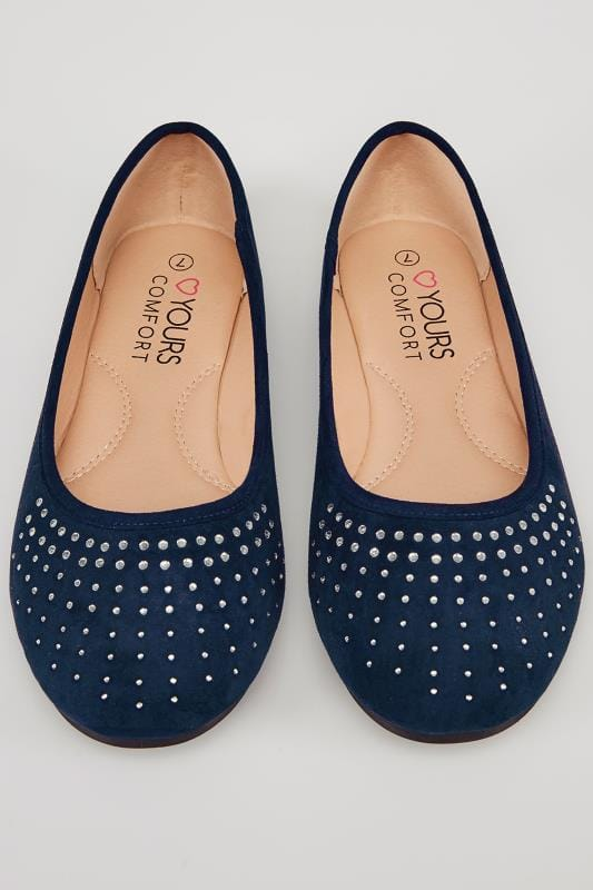 Navy Ballerina Pumps With Diamante Detail In TRUE EEE Fit