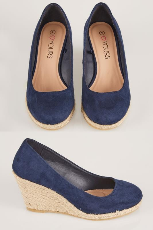 Wide Fit Wedges Navy COMFORT INSOLE Closed Toe Espadrille Wedges In TRUE EEE Fit