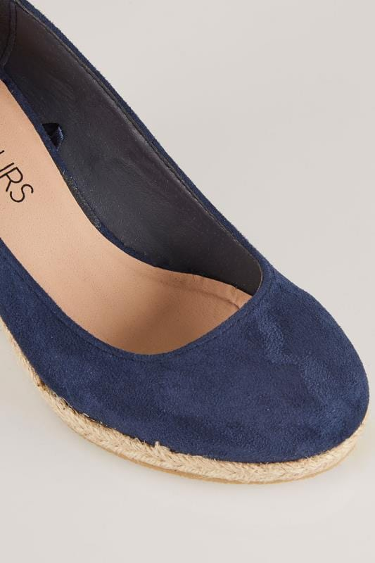 Navy Closed Toe Espadrille Wedges In TRUE EEE Fit