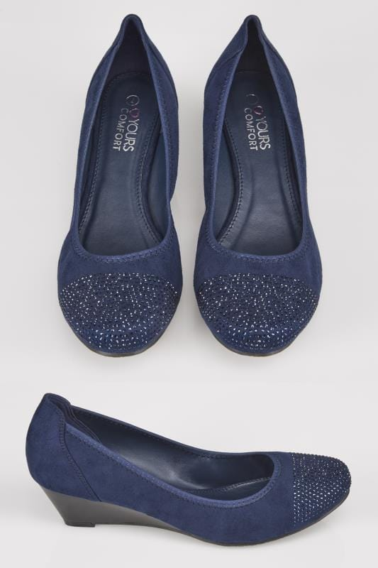 Navy COMFORT INSOLE Closed Toe Wedges With Diamante Embellishment In TRUE EEE Fit