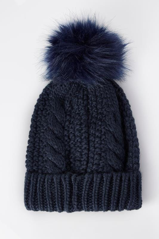 Navy Cable Knit Pom Pom Hat