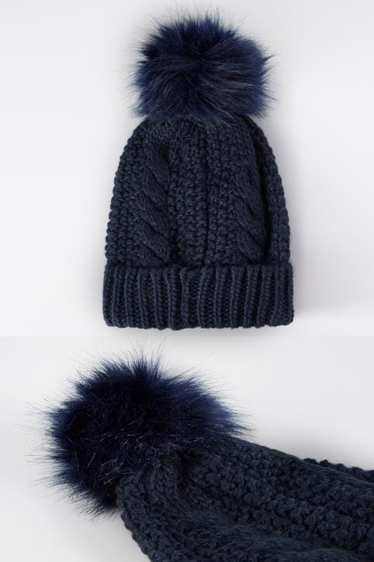 Navy Cable Knit Hat With Pom-Pom