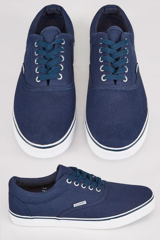 Trainers & Plimsolls  Navy Canvas Lace Up Plimsolls 056154