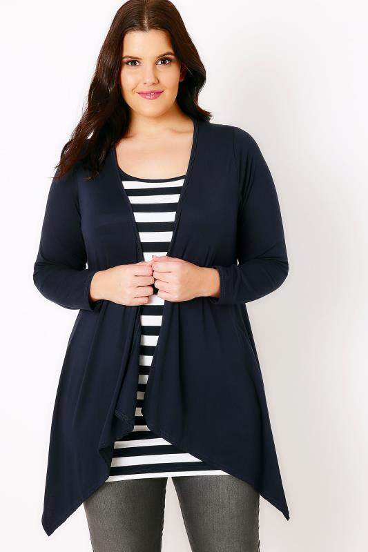 Navy Cardigan With Waterfall Front