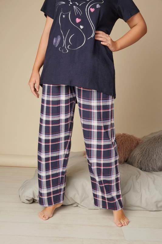 Plus Size Pyjamas Navy Check Print Pyjama Bottoms