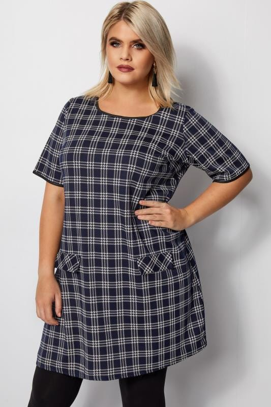 Navy Check Tunic Dress