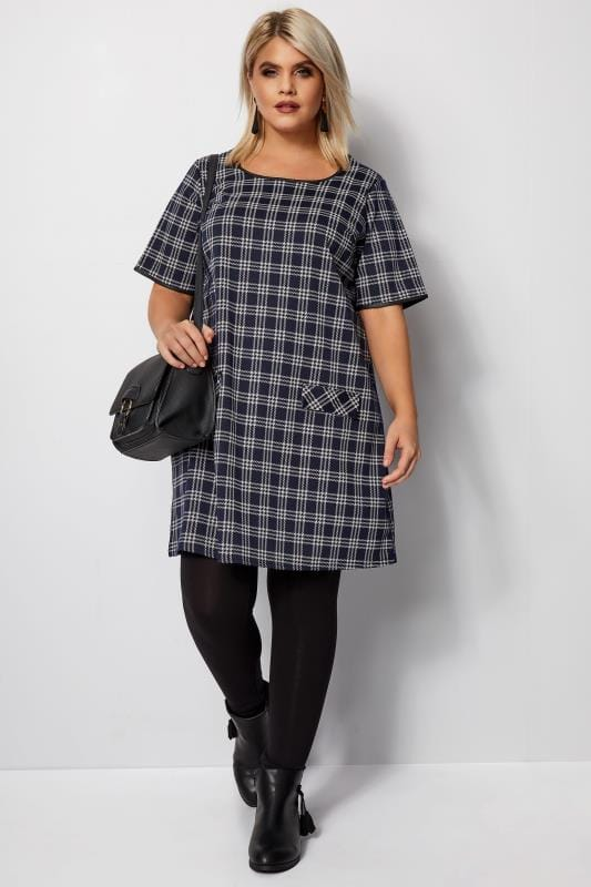 Plus Size Sleeved Dresses Navy Check Tunic Dress