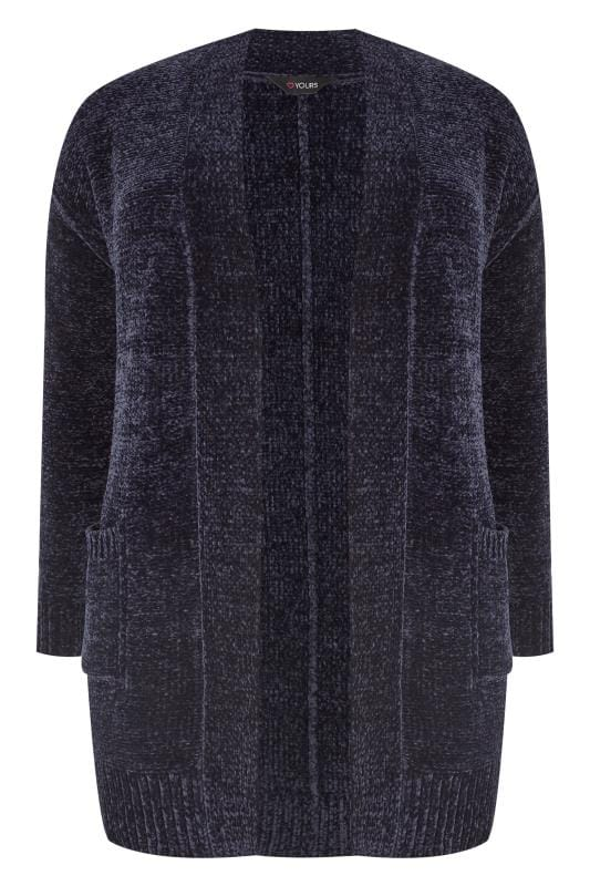 Plus Size Cardigans Navy Chenille Cardigan