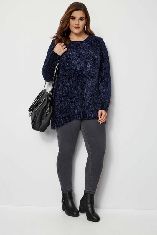 Plus Size Knitted Tops & Jumpers Navy Chenille Jumper