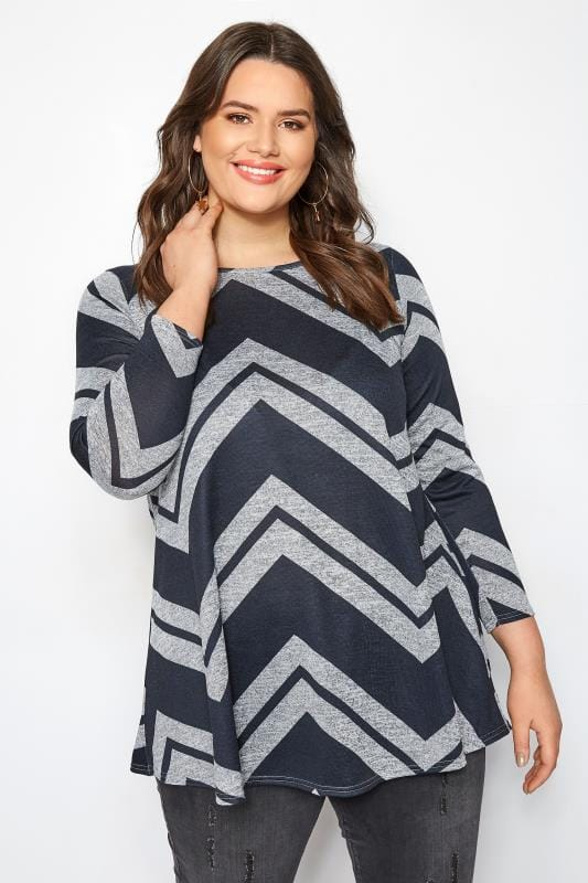 Plus Size Day Tops Navy Chevron Swing Top