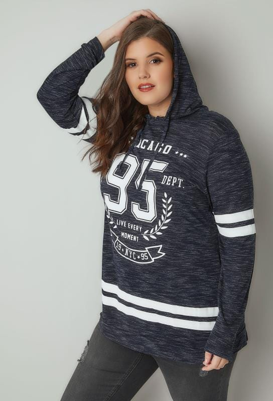 Navy 'Chicago' Slogan Print Hooded Sweatshirt