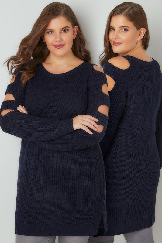 Jumpers Navy Chunky Knit Longline Jumper With Slashed Shoulders 124123